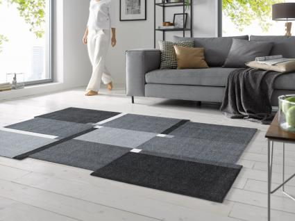 KLEEN-TEX wash+dry Decor Fußmatte / Teppich Living Squares black in 3 Größen