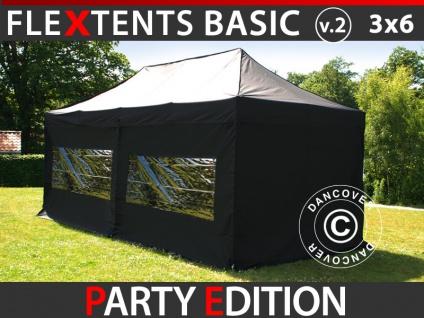 Faltzelt Faltpavillon Wasserdicht FleXtents Basic v.2, 3x6m Schwarz, mit 6 Seitenwänden