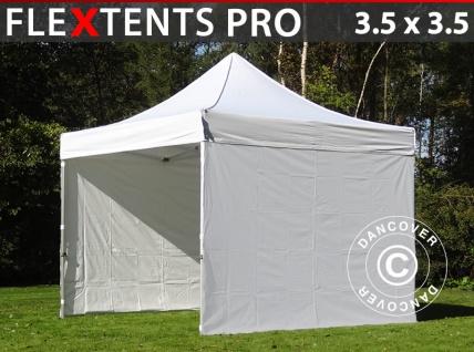 Faltzelt Faltpavillon Wasserdicht FleXtents PRO 3, 5x3, 5m Weiß, mit 4 Seitenwänden