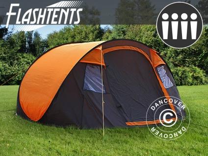 Pop-Up Campingzelt, FlashTents®, 4 Personen, Medium, Orange/Dunkelgrau