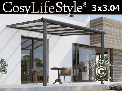 Terrassenüberdachung Compact aus Polycarbonat, 3x3, 04m, Anthrazit