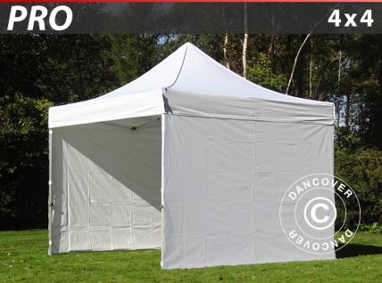 Faltzelt Faltpavillon Wasserdicht FleXtents PRO 4x4m Weiß, mit 4 Seitenwänden