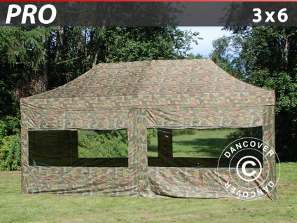 Faltzelt Faltpavillon Wasserdicht FleXtents PRO 3x6m Camouflage, mit 6 wänden