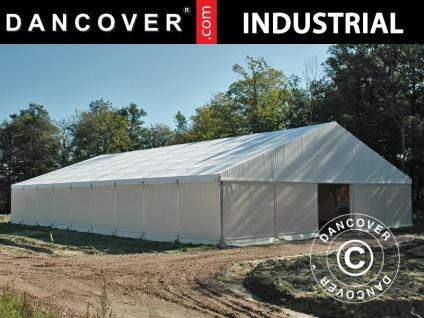 Industrielle Lagerhalle Steel 12x25x6, 18m mit Schiebetor, PVC, weiß