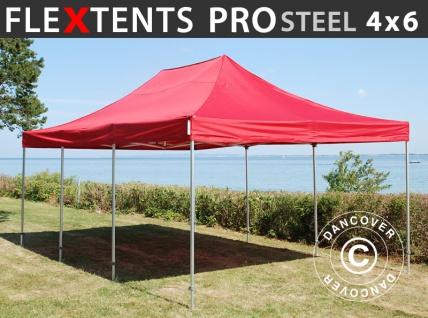 Faltzelt Faltpavillon Wasserdicht FleXtents PRO Steel 4x6m Rot
