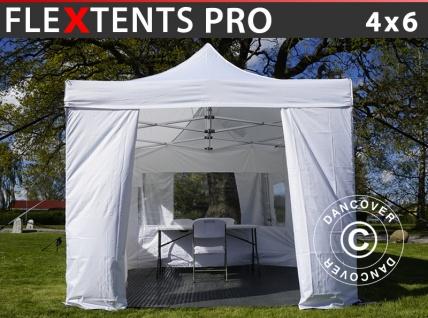 Besucherzelt FleXtents PRO 4x6m weiß, inkl. 8 Seitenwände und 1 transparente Trennwand