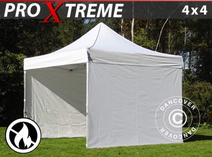 Faltzelt Faltpavillon Wasserdicht FleXtents Xtreme 4x4m Weiß, Flammenhemmend, mit 4 wänden