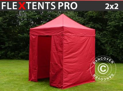 Faltzelt Faltpavillon Wasserdicht FleXtents PRO 2x2m Rot, mit 4 Seitenwänden
