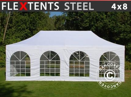 Faltzelt Faltpavillon Wasserdicht FleXtents Steel 4x8m Weiß, mit 4 Seitenwänden