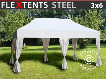 Faltzelt Faltpavillon Wasserdicht FleXtents Steel 3x6m Weiß, mit 6 Gardinen