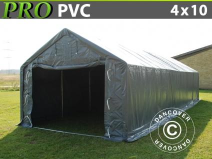 Lagerzelt Zeltgarage Garagenzelt PRO 4x10x2x3, 1m, PVC, Grau