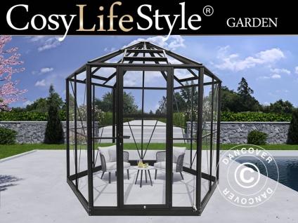 Sechseckige Orangerie aus Glas 7, 2m², 3, 04x2, 63x2, 73m mit Sockel, Schwarz