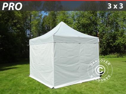 Faltzelt FleXtents PRO 3x3m silber, mit 4 wänden