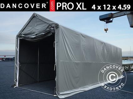 Lagerzelt PRO XL Bootszelt Zeltgarage Garagenzelt PRO XL 4x12x3, 5x4, 59m, PVC, Grau