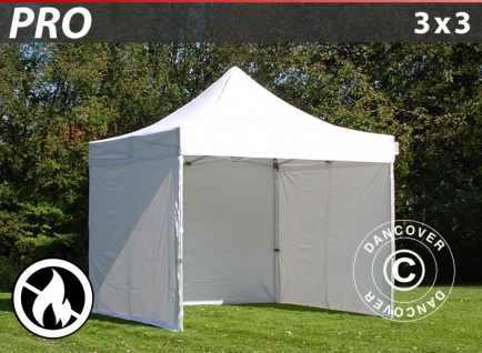 Faltzelt FleXtents PRO 3x3m Weiß, Flammenhemmend, mit 4 wänden