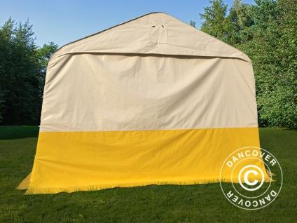 Lager- und Arbeitszelt PRO 3, 6x4, 8x2, 68m, PVC, weiß/gelb, flammfest - Vorschau 3