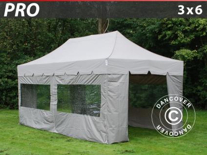 Faltzelt Faltpavillon Wasserdicht FleXtents PRO Peaked 3x6m Latte, mit 6 wänden