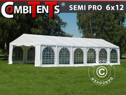 Partyzelt Festzelt, SEMI PRO Plus CombiTents® 6x12m 4-in-1, Weiß