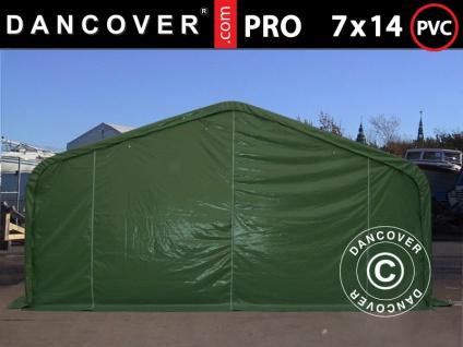 Lagerzelt Zeltgarage Garagenzelt PRO 7x14x3, 8m PVC mit Dachfenster, Grün