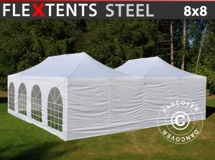 Faltzelt Faltpavillon Wasserdicht FleXtents Steel 8x8m Weiß, inkl. 8 Seitenwände