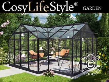 Orangerie aus Glas 16, 8m², 4, 45x4, 45x2, 52m mit Sockel, Schwarz