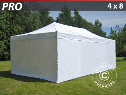 Faltzelt Faltpavillon Wasserdicht FleXtents PRO 4x8m Weiß, mit 6 Seitenwänden