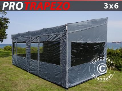 Faltzelt Faltpavillon Wasserdicht FleXtents PRO Trapezo 3x6m Grau, mit 4 Seitenwänden
