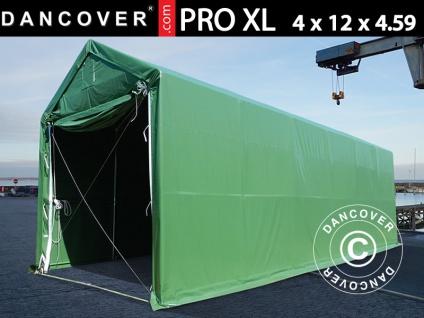 Lagerzelt PRO XL Bootszelt Zeltgarage Garagenzelt PRO XL 4x12x3, 5x4, 59m, PVC, Grün