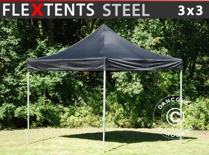 Faltzelt Faltpavillon Wasserdicht FleXtents Steel 3x3m Schwarz
