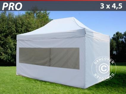 Faltzelt Faltpavillon Wasserdicht FleXtents PRO 3x4, 5m Weiß, mit 4 Seitenwänden
