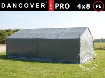 Lagerzelt Zeltgarage Garagenzelt PRO 4x8x2x3, 1m, PE, Grau