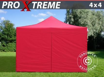 Faltzelt Faltpavillon Wasserdicht FleXtents Xtreme 4x4m Rot, mit 4 wänden