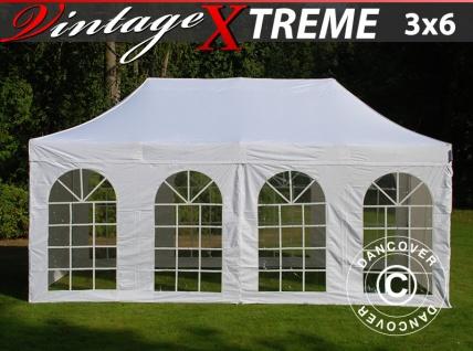 Faltzelt Faltpavillon Wasserdicht FleXtents Xtreme Vintage Style 3x6m Weiß, mit 6 Seitenwänden