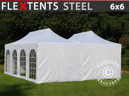 Faltzelt Faltpavillon Wasserdicht FleXtents Steel 6x6m Weiß, inkl. 8 Seitenwände