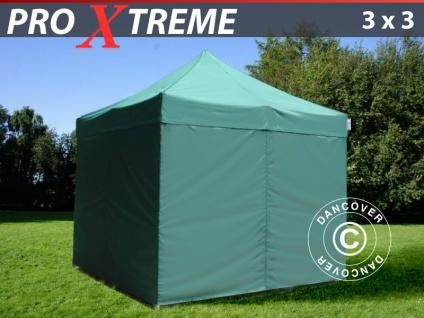 Faltzelt Faltpavillon Wasserdicht FleXtents Xtreme 3x3m Grün, mit 4 wänden