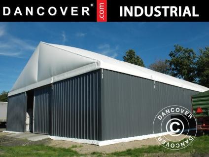 Industrielle Lagerhalle Steel 15x15x6, 73m mit Schiebetor, PVC/Metall, weiß/grau