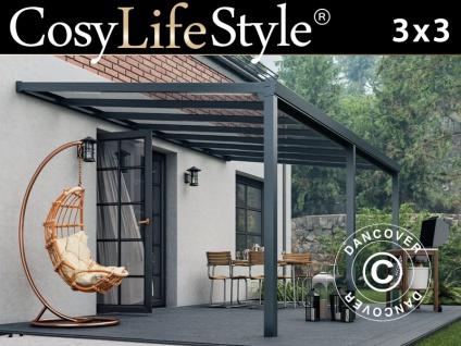 Terrassenüberdachung Easy aus Glas, 3x3m, Anthrazit