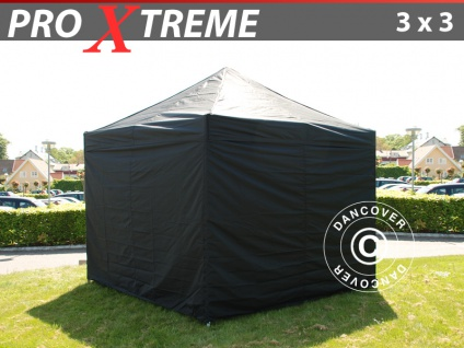 Faltzelt Faltpavillon Wasserdicht FleXtents Xtreme 3x3m Schwarz, mit 4 Wänden