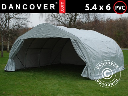 Doppel Zeltgarage Lagerzelt Garagenzelt 5, 4x6x2, 9m PVC, Grau