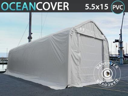 Lagerzelt Zeltgarage Garagenzelt Oceancover Bootszelt 5, 5x15x4, 1x5, 3m, PVC, Weiß