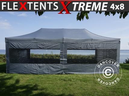 Faltzelt Faltpavillon Wasserdicht FleXtents Xtreme 4x8m Grau, mit 6 Seitenwänden