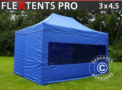 Faltzelt Faltpavillon Wasserdicht FleXtents PRO 3x4, 5m Blau, mit 4 wänden