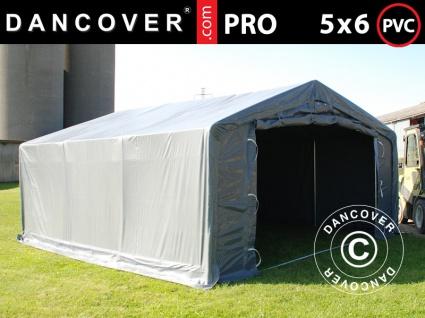 Lagerzelt Zeltgarage Garagenzelt PRO 5x6x2x3, 39m, PVC, Grau