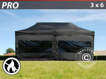 Faltzelt FleXtents PRO 3x6m Schwarz, Flammenhemmend, mit 6 Wänden
