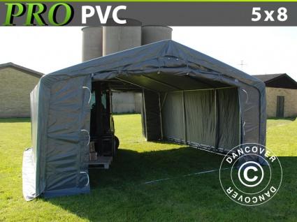Lagerzelt Zeltgarage Garagenzelt PRO 5x8x2x2, 9m, PVC, Grau