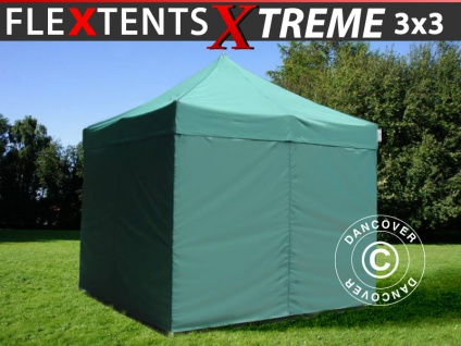 Faltzelt Faltpavillon Wasserdicht FleXtents Xtreme 3x3m Grün, mit 4 Seitenwänden
