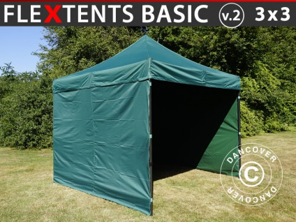 Faltzelt FleXtents Basic v.2, 3x3m Grün, mit 4 wänden