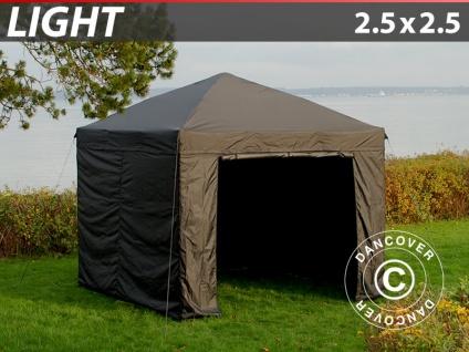 Faltzelt FleXtents Light 2, 5x2, 5m Schwarz, mit 4 wänden
