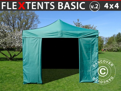 Faltzelt Faltpavillon Wasserdicht FleXtents Basic v.2, 4x4m Grün, mit 4 Seitenwänden