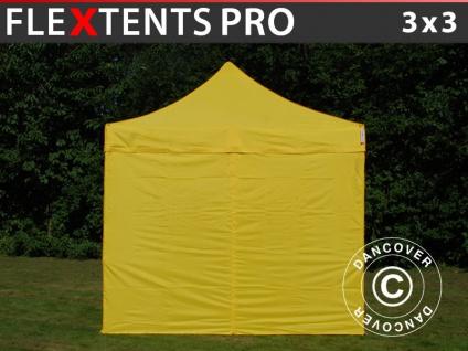 Faltzelt Faltpavillon Wasserdicht FleXtents PRO 3x3m Gelb, mit 4 Seitenwänden